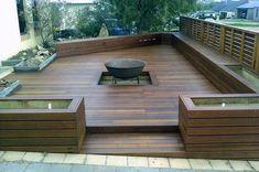 Neat Idea Modern Platform Deck And Fire Pit Design How