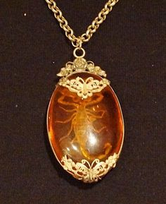Vintage Necklace Runway Filigree Silver Faux Amber Real Rare Scorpion By VintElegance.com