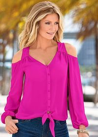 We don't recommend giving the cold shoulder.. Unless you are wearing this top! Venus cold shoulder blouse with a unique fit made for you!