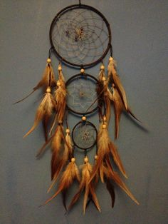 Brown faux suede trim triple dream catcher, beige beaded web, rooster feathers and wooden bead finish 15cm diameter dreamcatcher hand made via Etsy