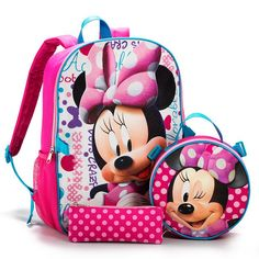 "Disney's Minnie Mouse adorns the front of this 3-piece backpack set.FEATURES• Includes a backpack, lunch bag, and pencil case• Backpack: 16"" x 12""/Lunch bag: 8"" diam/Pencil case: 8"" x 3""• Ages 6 and upBACKPACK:• Adjustable shoulder straps that are pink.• Top handle that is blue.• Bag is a combination of pinks, white and some blue.• There is a pink mesh slip pocket on each side.• One zipper for main compartment.• Minnie is striking a pose on t..."