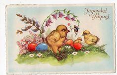 Easter postcard, vintage Easter postcard, Easter chicks playing, eggs, Easter ephemera, vintage Easter, Joyeuses Pacques by sharonfostervintage on Etsy