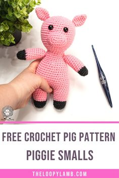 Learn how to crochet a pig with this easy and adorable free crochet pig pattern that's designed to minimize sewing on parts! #freecrochetpigpattern #amigurumianimals #pigcrochetpattern #freecrochet #amigurumipig #WeCJune21 Crochet Animal Amigurumi, Crochet Animal Patterns, Crochet Doll Pattern, Stuffed Animal Patterns, Knit Or Crochet, Learn To Crochet, Cute Crochet, Crochet Animals, Amigurumi Patterns