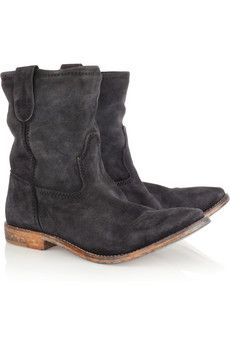 ISABEL MARANT - Jenny brushed-suede ankle boots -- LOVE!