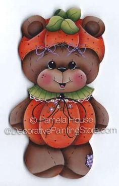 The Decorative Painting Store: Pumpkin Bear Ornament or Magnet by Pamela House - PDF DOWNLOAD, Newly Added Painting Patterns / e-Patterns