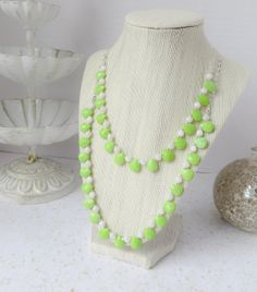 Green Double Layer Beaded Necklace by InstinctBoutique on Etsy, $30.00