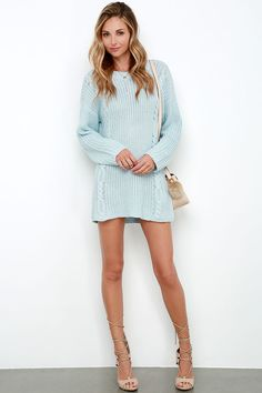 If you're like me and dream of chilly days spent wrapped in a scarf with a cup of tea in hand, then pieces like the Somedays Lovin' Ralphie Light Blue Sweater Dress were made for you