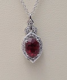 "New 14kt. white gold LeVian 18"" necklace oval shaped ruby round diamond YQXM 37 #LeVian #Pendant"