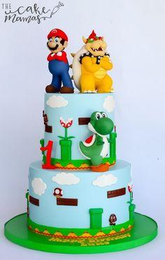 Super Mario Bro. Cake! Call or email to book your custom design today!#supermariobros #videogames #supermario #yoshi #mario #bowser #birthdaycake #customcake #fondant #cakeart #supermariobirthdayparty