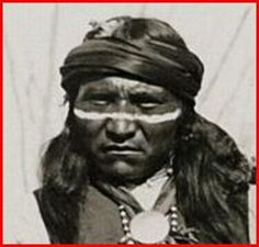 Perico (aka White Horse, aka Leon Perico), (1852-1934), 2nd cousin of Geronimo. Perico was one of the last of the full-blood Bedonkohe Apaches. He has numerous descendants through his surviving children. Photograph (close-up) by ???, 1886.