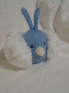 Swablu pokemon plush made with needle felted wool and yarn.