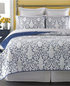 Martha Stewart Collection Cotton Chateau King Quilt, Created for Macy's - Quilts & Bedspreads - Bed & Bath - Macy's Twin Quilt, Quilt Bedding, Navy Bedding, Martha Stewart, Quilt Sets Queen, Space Furniture, White Pillows, Comforter Sets, Bed Spreads