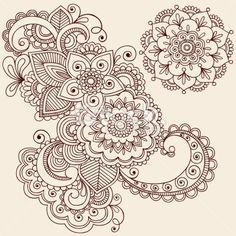 Henna Mehndi Flowers and Paisley Doodle Stock Illustration 12704694 - iStock