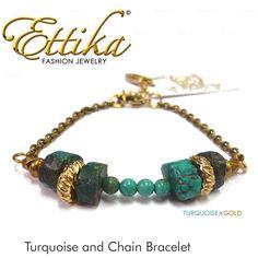 【jg】【 Ettika エティカ 】Turquoise and Chain Bracelet :B346ターコイズ×アンティーク調ゴールドの落ち着いた大人な雰囲気の ブレスレット 話題のスピリチュアルジュエリー ettika ♪【2sp_121122_green】【楽天市場】