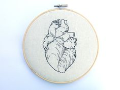 Anatomical Heart Embroidery Hoop Art - Needlepoint Heart - Embroidered Heart - Medical Decor - Medical Gifts - Science Gifts - Organs
