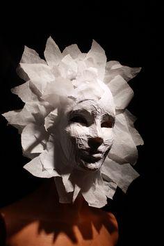 Paper mask by ReidOriginals Paper Mache Mask, Paper Mache Sculpture, Sculpture Art, Paper Mache Animals, Masks Art, Paperclay, Green Man, Mask Making, Halloween Masks