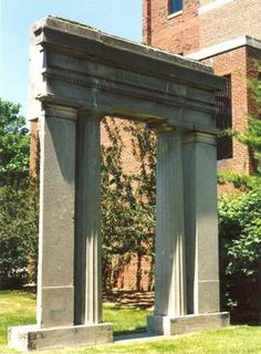 The Doric Entry Portal was once part of the oldest stone building in Detroit, the Bank of Michigan, built 1836 at the corner of Jefferson Avenue and Griswold Street. Gift of Emory Clark of Detroit.