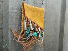 Leather+bag+necklace+Medicine+bag+Native+por+SarahWoodJewelry,+$60.00