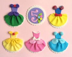 Disney Princess Dress Party Ariel Snow White Cinderella Aurora Belle Fondant Cupcake Toppers