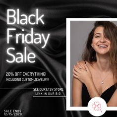 🖤💍 Black Friday is here! 💍🖤  Enjoy 2020's best deals - 20% off EVERYTHING on our Etsy store! Link in our bio.   #diamondengagementring #etsyjewelry #etsyfinds #etsyjewelry #etsyjewellery #etsyjeweller #blackfridaysale #blackfridaydeals #blackfriday2020 #blackfridayjewelry #jewelryofinsta #diamondaddiction #bridaljewelry #jewelrygifts #christmasgifts #christmasiscoming #christmasgift #christmas2020 #jewelrysale #jewelrysales #jewelrydeals #customjewelry #customrings #ringsofinstagram