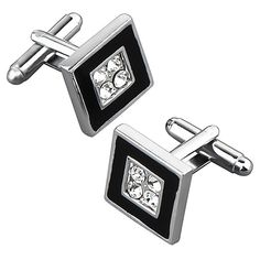 These Zodaca black/ silver square cufflinks add a modern and stylish accent to your attire and feature four 4 jewels at their center.