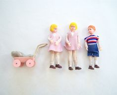 Vintage Doll House Dolls Children Child Miniature - with baby buggy.