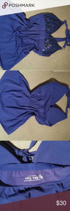 VS fashion best kept secret blue bra top VS gain best kept secret by Victoria's Secrets blue with sequin bra top tank. Size M Victoria's Secret Tops Tank Tops
