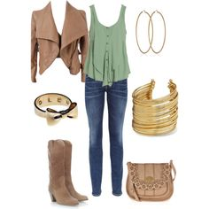 """""""Mint Country Fall Outfit"""" by natihasi on Polyvore, I think I can do with out those boots, maybe another pair"""
