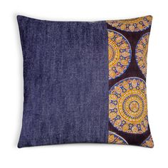 Indigo Denim and Kalamkari Mandala Pillow Cover