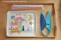 Montessori toddler cutting tray and scissors.