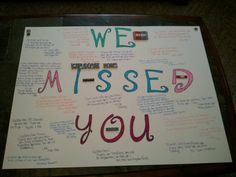 welcome home sign for shaun with messages from family that couldnt be here