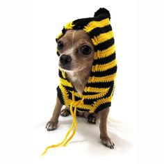 Bumble Bee Dog Hood Sweater Pet Raincoats Handmade Cotton Crocheted Dk885 Free Shipping >>> You can get additional details, click the image : Dog coats