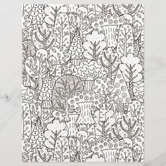 Spend some time relaxing with this coloring page for adults. You can  select paper type and size from the menu. Put the finished coloring page  in a journal or frame it to hang on your wall. Great way to destress. #zazzlemade #coloring #coloringpage #coloringpattern #scrapbook #scrapbooking #scrapbookpaper #journal #journaling #journalpage #trees #forest