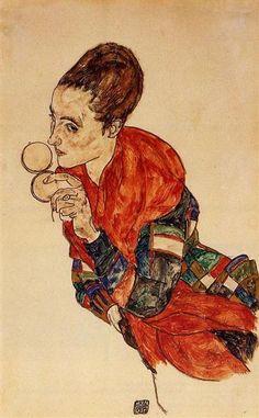 Portrait of the Actress Marga Boerner, 1917 by Egon Schiele. Expressionism. portrait