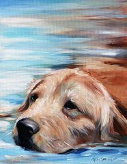 Golden Retriever Paintings - Dog Paddle by Hanging The Moon