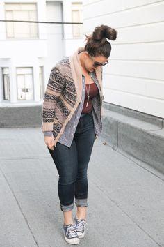 fair-isle tunic sweater cardigan + jeans