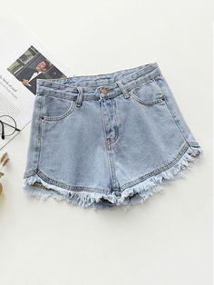 04b93a55386 Frayed Hem Denim Shorts -SheIn(Sheinside) Denim Fashion