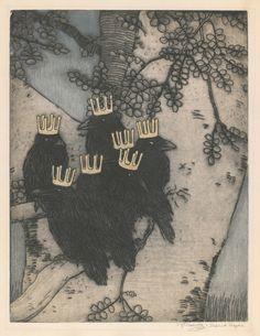 "rfmmsd: Artist: Vojtěch Preissig (Czech, ""The Seven Ravens"" Etching 1903 Quoth The Raven, Jackdaw, Crows Ravens, Rabe, Fairytale Art, Children's Book Illustration, Bird Feathers, Printmaking, Illustrators"
