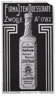"""Etiket van de """"Lotodinsche"""" levertraan van de firma J. ten Doesschate, in de vierkante flessen verkocht onder de naam  """"De Gekroonde Oude Gaper"""". Afbeelding: collectie J. ten Doesschate."""