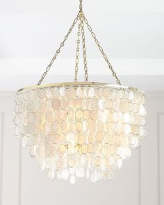 Large Aurora Chandelier at Horchow. Treatment Projects Care Design home decor Capiz Shell Chandelier, Coastal Chandelier, Chandelier In Living Room, Contemporary Chandelier, Chandelier Lighting, Kids Chandelier, Closet Chandelier, Bathroom Chandelier, Beach Lighting