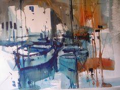 Àngels Estella: Port de Tànger -Marroc-  Veure aquarel.les a www....