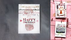 Unique Birthday Postcards Collection, Scrapbooking, Collage, Mixed Media, Romantic & Playful by Alaalina on Etsy