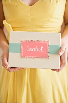 personalized bridesmaid giftbox #bridesmaids #giftbox #weddingchicks http://www.weddingchicks.com/2014/02/18/pink-and-blue-bridal-ask-party