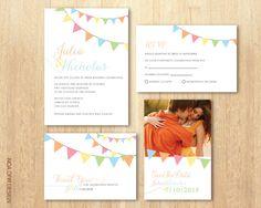 Rustic Wedding Invitation Set, Flags Invitation, Pastel Invitation,Printable DIY Invitation, RSVP, Save The Date,Thank You Card