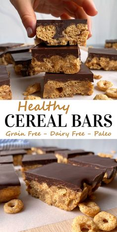 These homemade cereal bars are a healthy dessert recipe, great for kids and adults. They are made with grain free cereal and almond butter, lightly sweetened with honey and topped with dark chocolate. The best Paleo cereal recipe! #cerealbars #grainfree #dairyfree #paleo Paleo Dessert, Healthy Dessert Recipes, Dessert Bars, Healthy Baking, Eggless Recipes, Paleo Recipes, Paleo Cereal, Homemade Cereal, Easy To Make Desserts