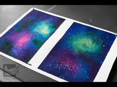 Painting a galaxy using watercolors and gloss intensifier - YouTube