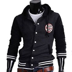 Men s Contrast Color Hoodie Cardigan Jacket fda56824db