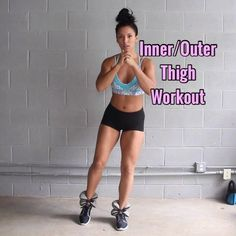 💥Inner & Outer Thigh Workout💥 I'm using 5lb ankle weights, but that's optional. - - 1. Leg Lift + Curtsy Split Squat (when you go back into…