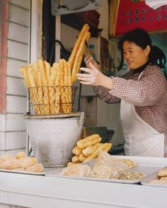 BREAKFAST OF CHAMPIONS  You tiao, or fried dough, is a morning favorite morning treat in China (cost: 25 cents).
