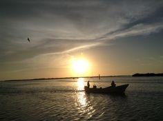Atardecer en Río Lagartos, Yucatán, México.